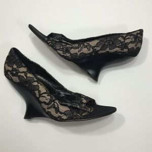 WHBM Black & Lace Open Toe Heels